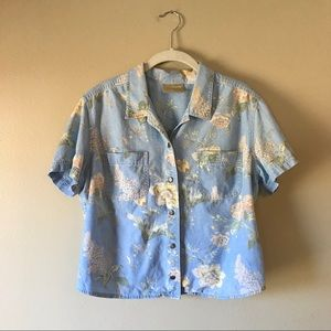 Vintage Chambray Denim Floral Crop Button Shirt